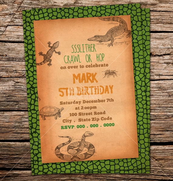 Custom printable reptile birthday party invitation snake filmwisefo Image collections