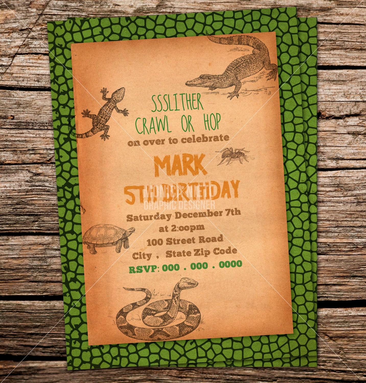 Custom Printable Reptile Birthday Party Invitation/ Snake