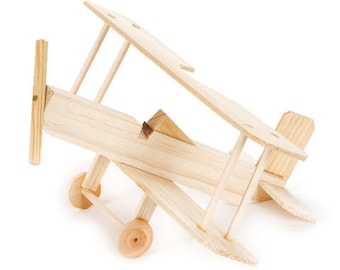 Biplane wood model airplane kit