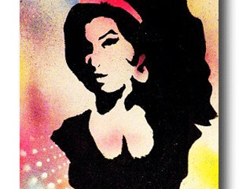 "Canvas 11"" x 14"" Amy Winehouse Iconic Musician Pop Art Custom Painting - Unique Creative Musical Artist Gone Too Soon!"