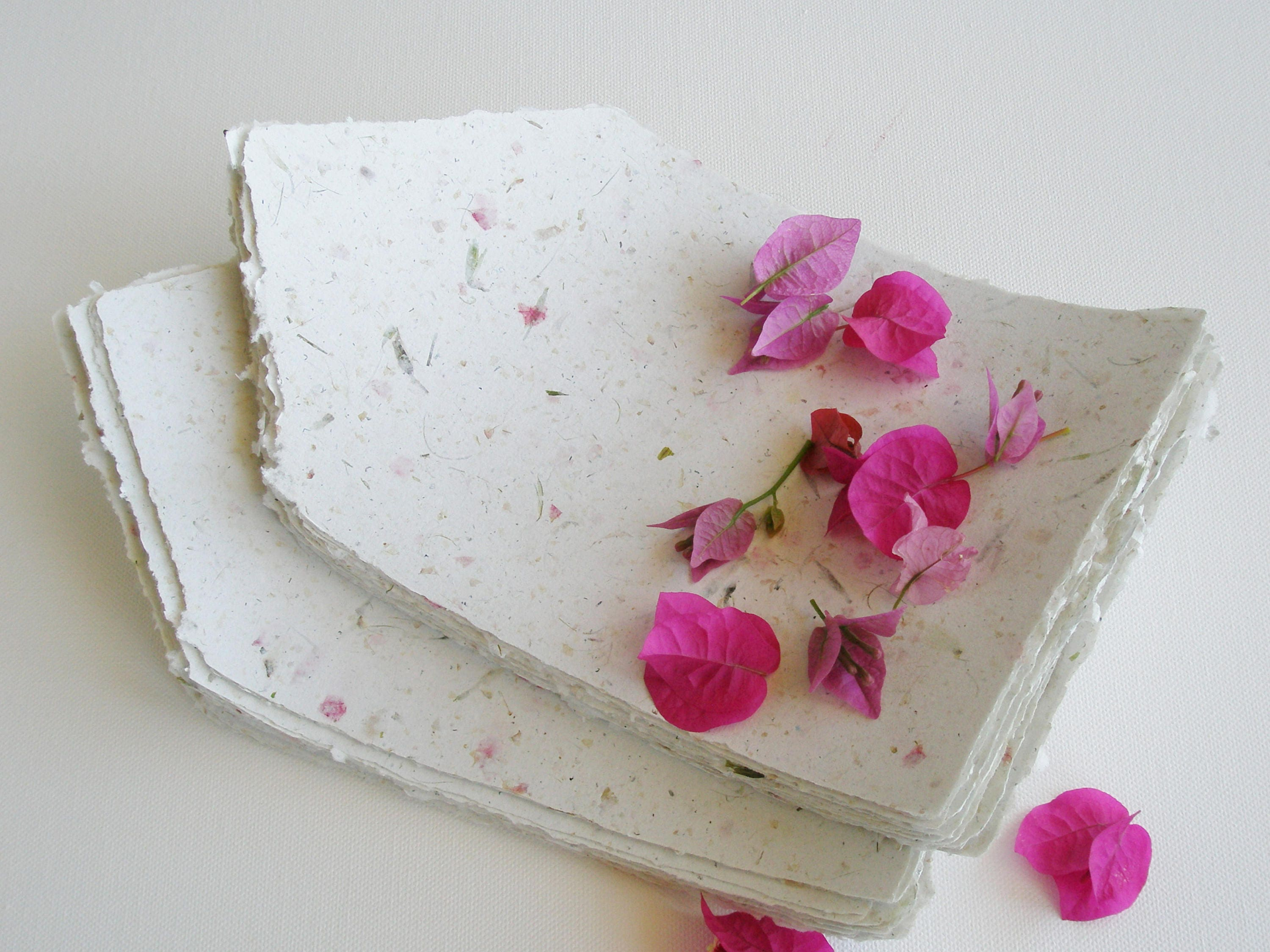 Writing Paper With Bougainvillea Handmade Recycled Paper Floral