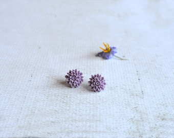 Purple Flower Earrings- Titanium Flower Studs- Purple Posts- Titanium Earrings- Dahlia Flower Earrings- Hypoallergenic Studs- Girl Gift