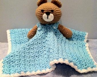 Crochet Aqua Teddy Bear Snuggle Lovey Security Travel Wubby Stuffed Toy Amigurumi Baby Blanket Afghan
