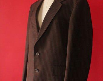 Vintage 70's Chocolate Brown Pinstripe Men's Suit Blazer Jacket by
