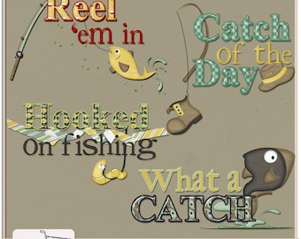 Hooked On Fishing Digital Scrapbook Word Art