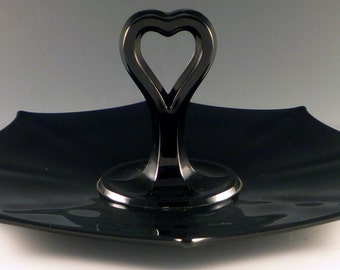 Black Depression Glass Heart Shaped Center Handle Server Imperial Molly CHS Sandwich Tray Ebony Handled Glassware Vintage Authentic