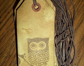 Antiqued Tea-Stained Tags. Set of 9.  Gift Tags, Jar Tags. Owl Stamped.  Primitive Tags. Grungy Tags.