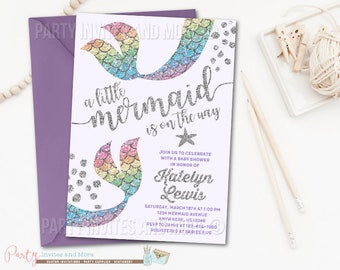 Mermaid Invitation, Mermaid Baby Shower Invitation, Rainbow Mermaid Baby  Shower Invitation, Under The