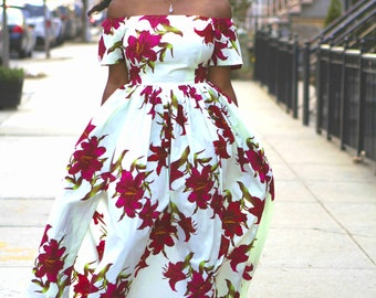 TERRY - Off the Shoulder Floral African Fabric Maxi Dress