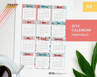 Printable calendar 2018 for your bujo