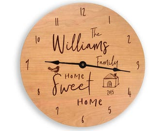Personalized home sweet home clock. clock, housewarming gift, anniversary gift, wood clock, personalized clock, cherry clock, CL6008