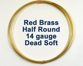 14ga Half Round DS Red Brass Wire - Choose Your Length