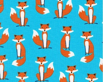 Mini Foxes on Blue from Robert Kaufman's Fabulous Foxes by Andie Hanna