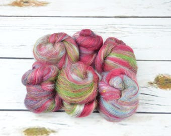 MYSTERY MIX Battitos- Glimmer- Blended Carded spinning mini fiber batts battlings - Ready to Ship