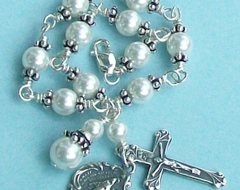 First Communion White Pearl Rosary Bracelet, Sterling Silver, Swarovski, Child's, Unbreakable, Miraculous Medal, Crucifix, One Decade
