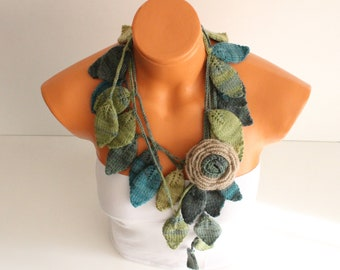 Lariat Scarf, Flower Scarf, Crochet Scarf, Floral Scarf, Knit Scarf, Crochet Jewelry, Boho Crochet Scarf, Mothers Day, Flower Garland