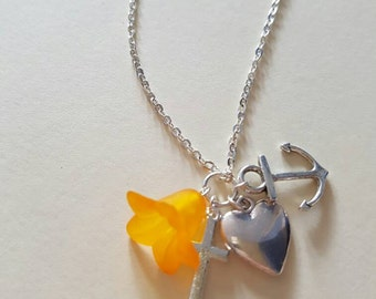 Silver plated faith hope and charity necklace faith hope love with orange lily