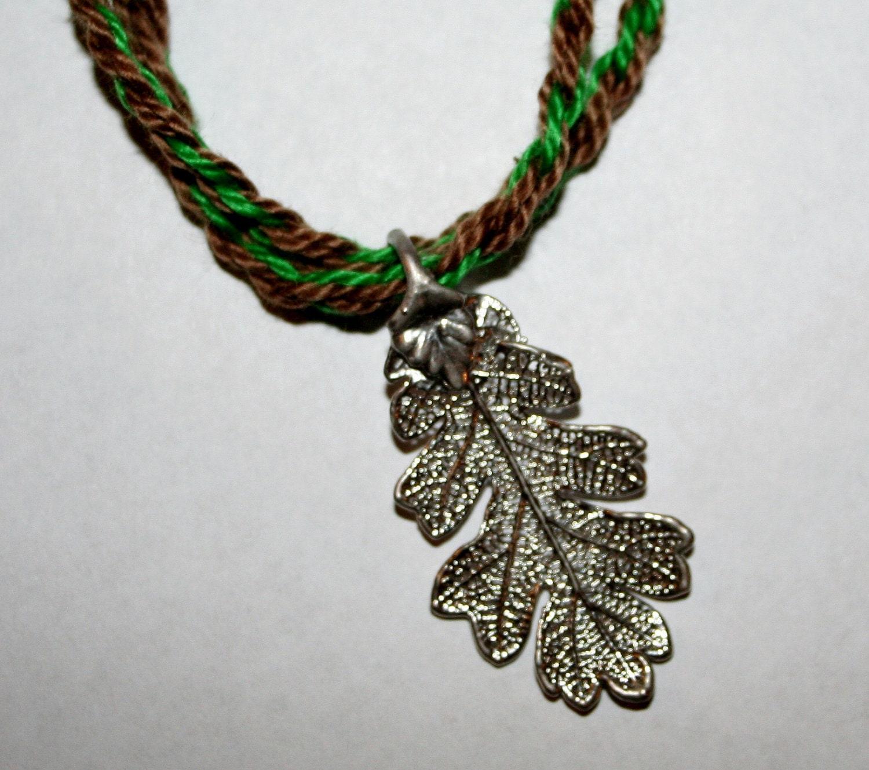 Silver oak leaf necklace aloadofball Choice Image