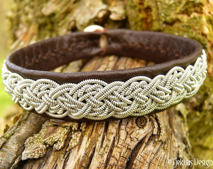 Genuine Swedish Sami Bracelet YGGDRASIL Viking Cuff Handmade in Silksoft Antique Brown Reindeer Leather with Viking Braided Spun Pewter Wire