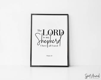 Psalm 23. Instant Download, Printable Art, Christian, Bible Verse, Minimalist Print, Modern Print, Art Prints, Instant Download.