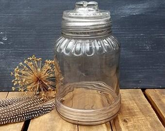 Vintage Sherwood Half Gallon Glass Canning Jar, Slight Purple Color