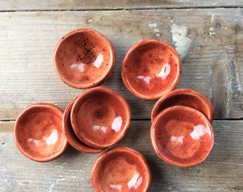 Handmade ceramic  red with dark blue speckles pinch pots, perfect for salts, pepper, spices and rings