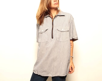 vintage 90s pinstripe oversize slouchy faded microstriped cotton t-shirt