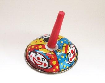 Vintage 1950's Clown Tin Litho Noise Maker Party Favor!