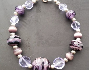 Purple Beaded Bracelet, Glass Beaded Bracelet