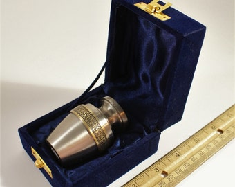 Cremation Urn ~ Small Memorial Unused Vintage Metal Urn Greek Key Styling ~  Pet Urn Quality Brass Brushed Pewter Finish ~ Blue Velvet Box