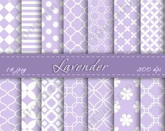 Lavender Digital Paper - Scrapbooking Paper, Digital Scrapbook Paper Pack, Digital Downloads