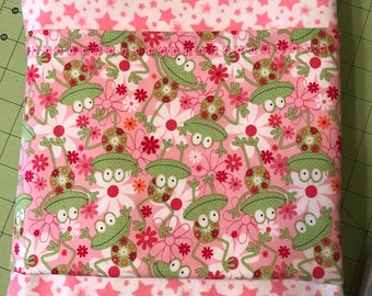 Cheerful Frogs with Flowers and Stars Flannel Baby Blanket