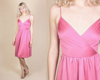 70s Pink Party Dress - XXS // Vintage Spaghetti Strap Grecian Mini