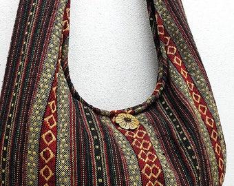 Woven Cotton Bag Hippie bag Hobo bag Boho bag Shoulder bag Sling bag Tote Crossbody bag Purse Gypsy bag Women bag Handbags Long Strap (WF6)