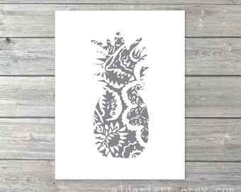 Pineapple Print -  Poneape Wall Art - Pinapple Decor - Pineapple Art - Tropical Fruit Print - Slate Grey