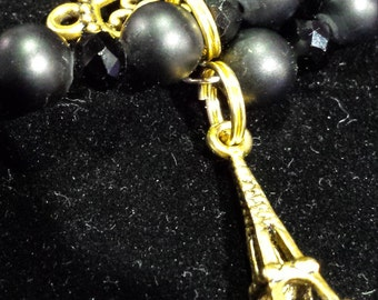 Black and Gold Charm Bracelet with Eiffel Tower