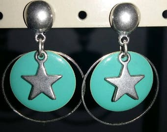Star and turquoise sequin earrings