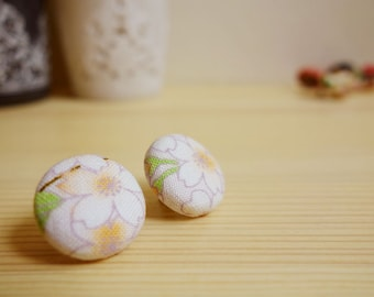 Cherry blossom fabric covered earrings - SHINJU - stud pierces with Sakura Japanese cherry blossom (M)