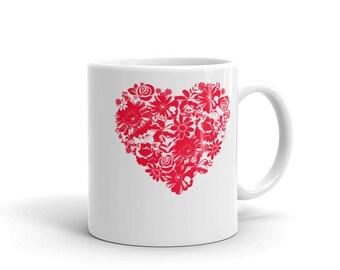 floral mug - vintage coffee mug  - flower mug - vintage floral mug - heart mug- love mug - valentine coffee mug - valentines mug