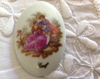 Cabochon 5 8 x 3, 9cm, oval, antique Limoges porcelain