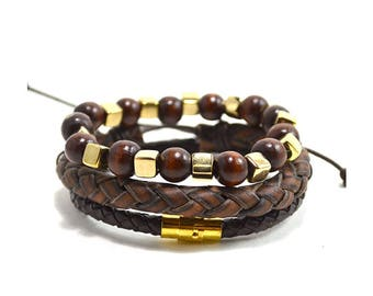 3 Pack Leather/Brown/Gold Bracelet Set