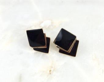 Vintage Trifari Black Gold Enamel Stud Earrings