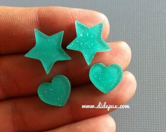 PASTEL turquoise glitter star or hearts laser cut stud earrings