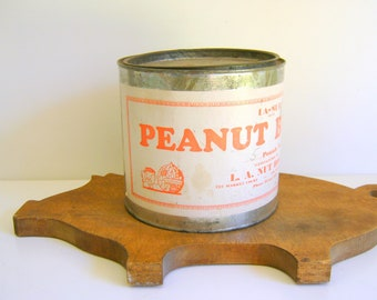 Vintage Tin Peanut Butter Antique Nut House Galvanized Tin Rustic Kitchen Decor