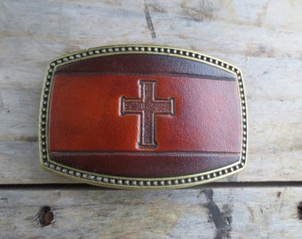 Leather buckle with Cross