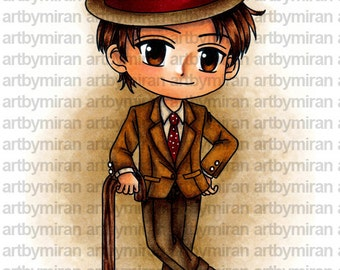 Digital Stamp - Gentleman George (ABM001), Digi Stamp, Coloring page, Printable Line art for Card and Craft Supply