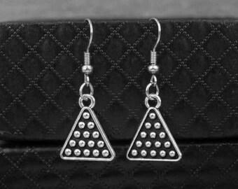 Silver Billiards Earrings -Snooker Balls Earrings -Triangle Earrings -Dangle Earrings