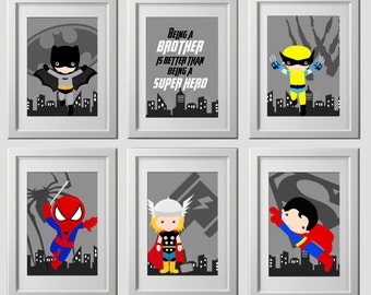 superhero logo wall art prints, PRINTED set of 6, superhero nursery or bedroom wall art, 6 high quality prints, superhero wall art prints