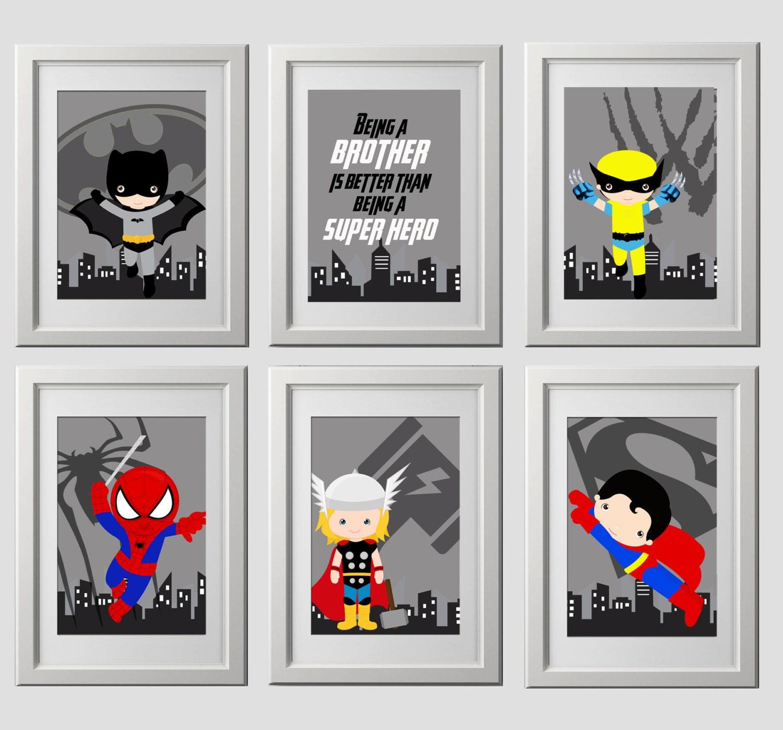 Superhero logo wall art prints printed set of 6 superhero for Chambre 8x10