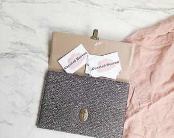 Vintage vinyl speckled organizing folder | Organize folder for business cards and pens | Portfolio briefcase bag